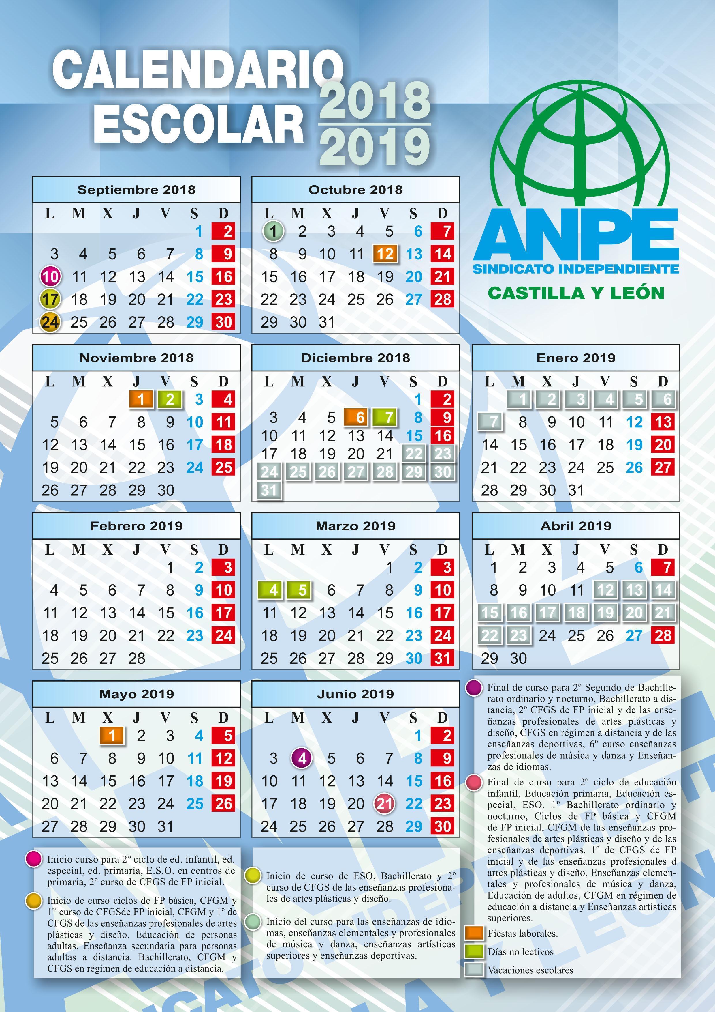 Calendario Laboral 2019 Valladolid Pdf.Calendario Escolar De Anpe Castilla Y Leon Curso 2018 2019